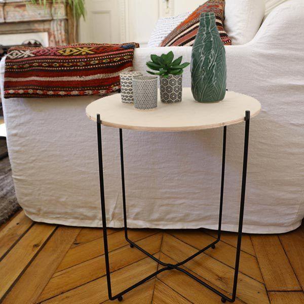 decoration scandinave table d'appoint en bois clair