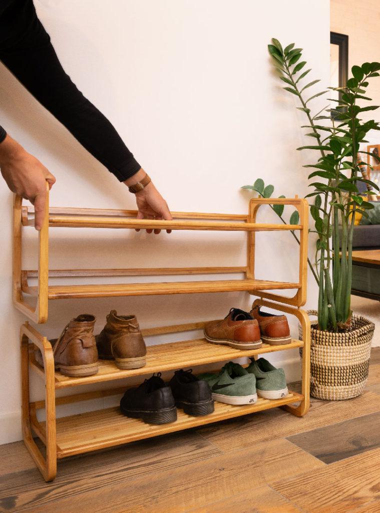 Le range-chaussures en bambou naturel « Welly »